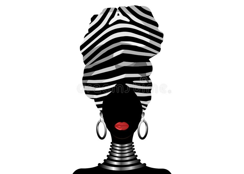 Vectorportret Afrikaanse vrouw in traditionele gestreepte tulband, de hoofdomslag van Kente, dashikidruk, het zwarte silhouet van vector illustratie