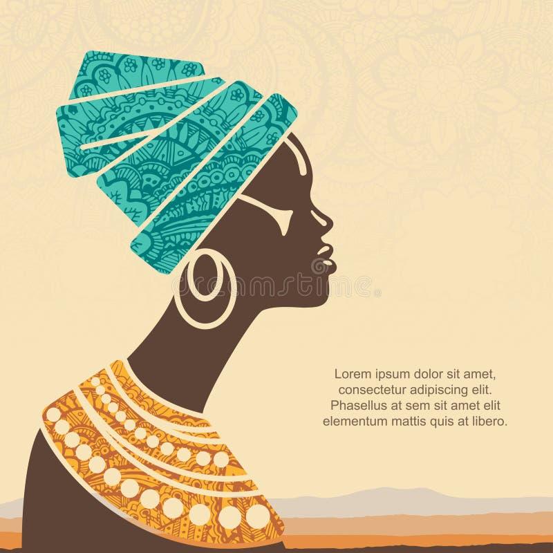 Vectorportret mooie Afrikaanse vrouw in traditionele tulband vector illustratie