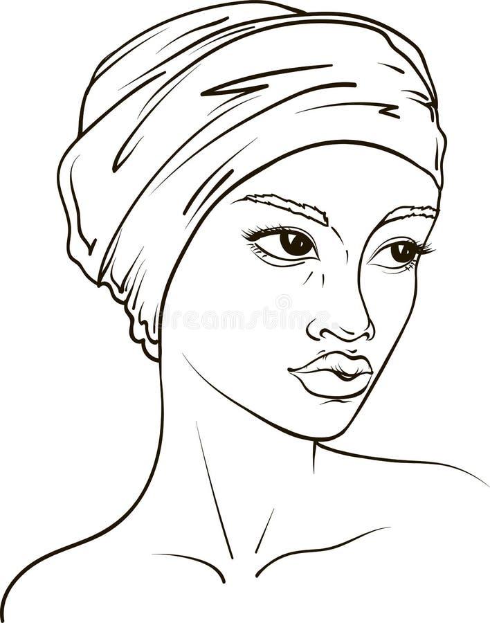 Vectorportret van Afrikaanse Amerikaanse vrouw in hoofddoek royalty-vrije stock afbeeldingen