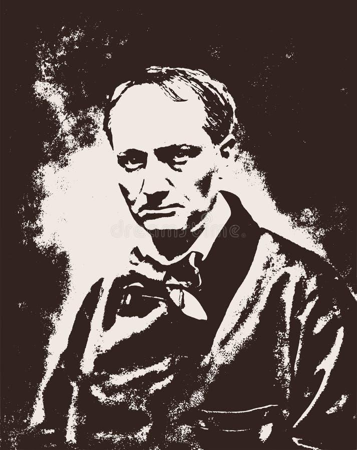 Vectorportret van de beroemde Franse dichter en de auteur van de Bloemen van Kwaad Charles Baudelaire vector illustratie