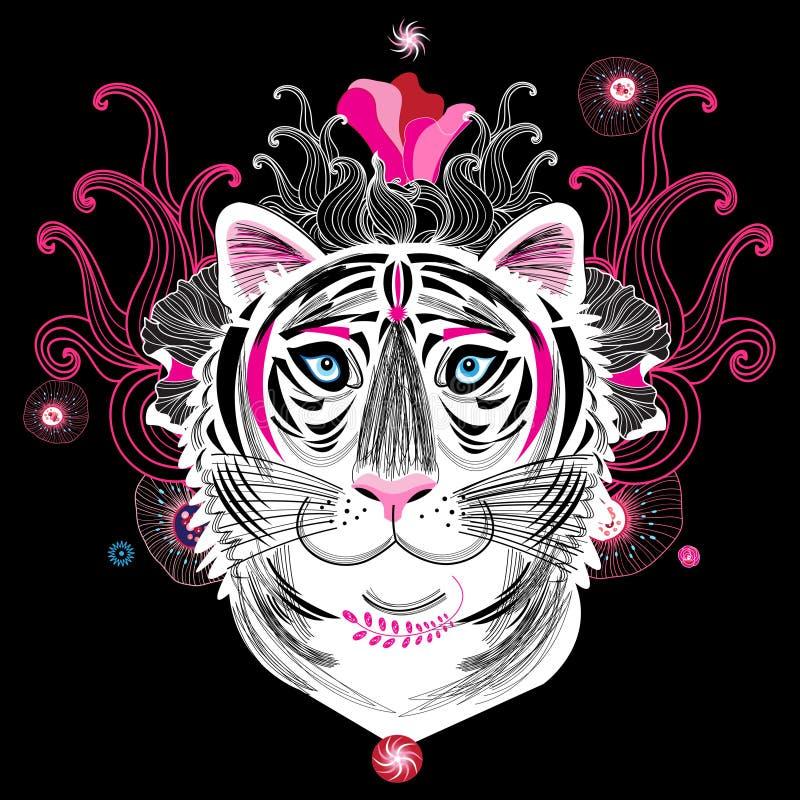 Vectorportret van een fantastische tijger stock illustratie