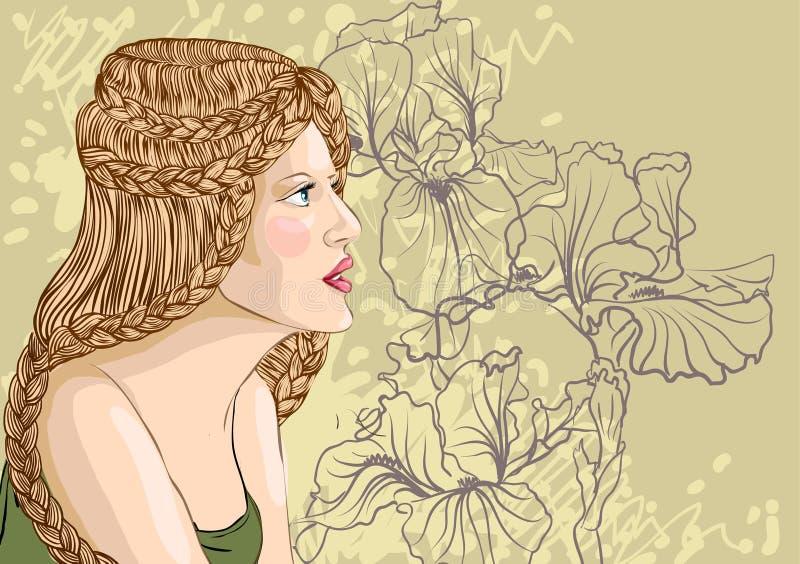 Vectorportret van een mooie blonde vrouw stock illustratie