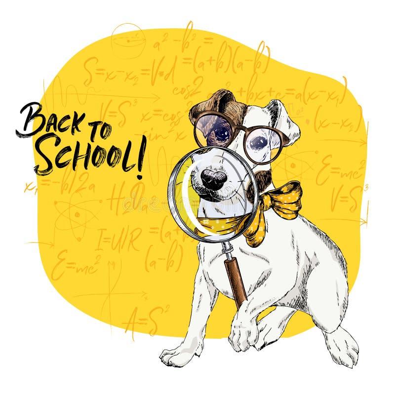 Vectorportret van Jack Russel-terriërhond met vergrootglas en grote neusbezinning Terug naar schoolillustratie vector illustratie