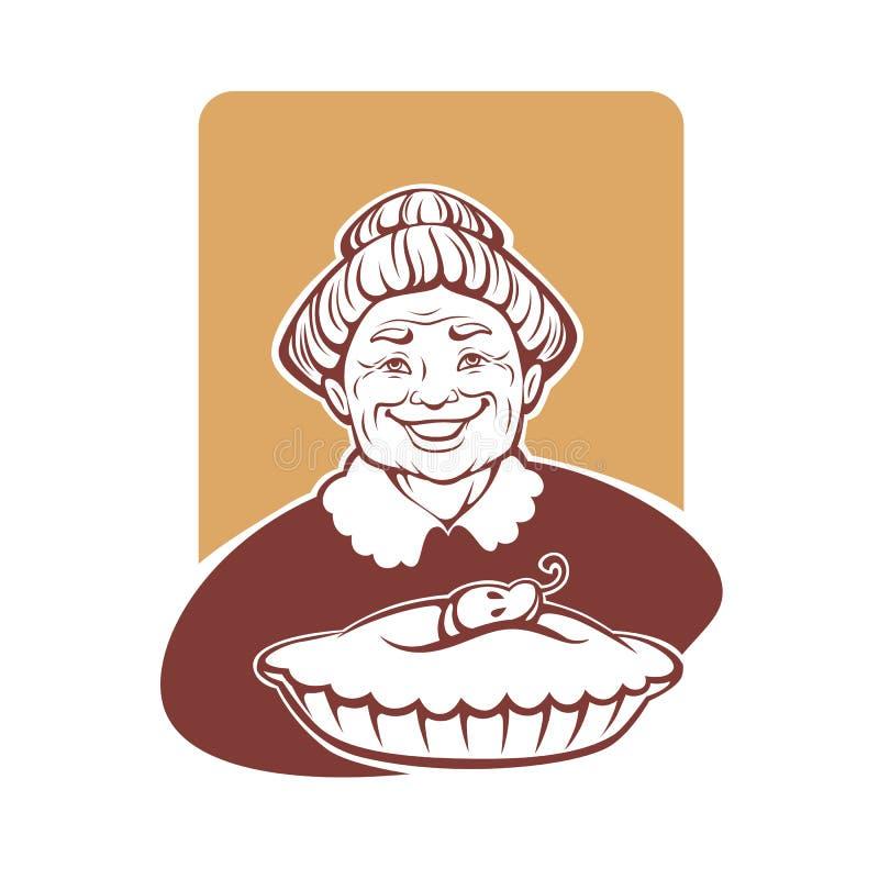 Vectorportret van mooie grootmoeder en naar huis gemaakte pastei stock illustratie