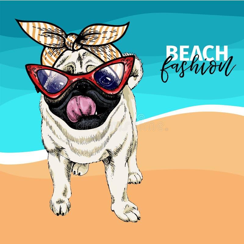 Vectorportret van pug hond die zonnebril en retro bandana dragen De illustratie van de de zomermanier Vakantie, overzees, strand stock illustratie