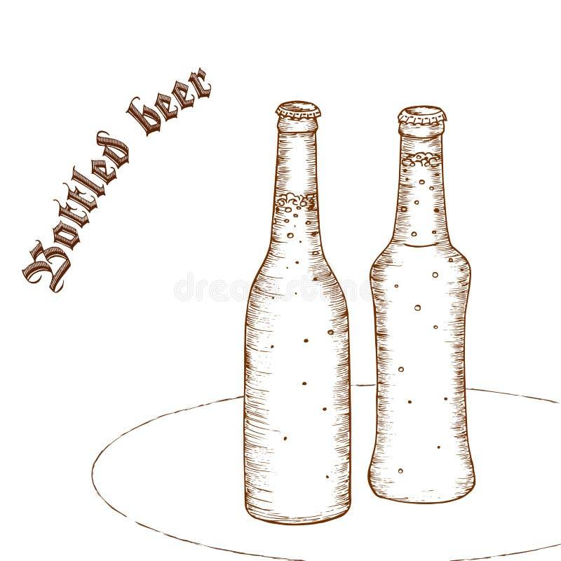Vectorpotloodhand getrokken illustratie van paar van bierfles met etiket stock illustratie