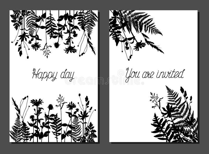 Vectorprentbriefkaarmalplaatjes met wild gras royalty-vrije illustratie
