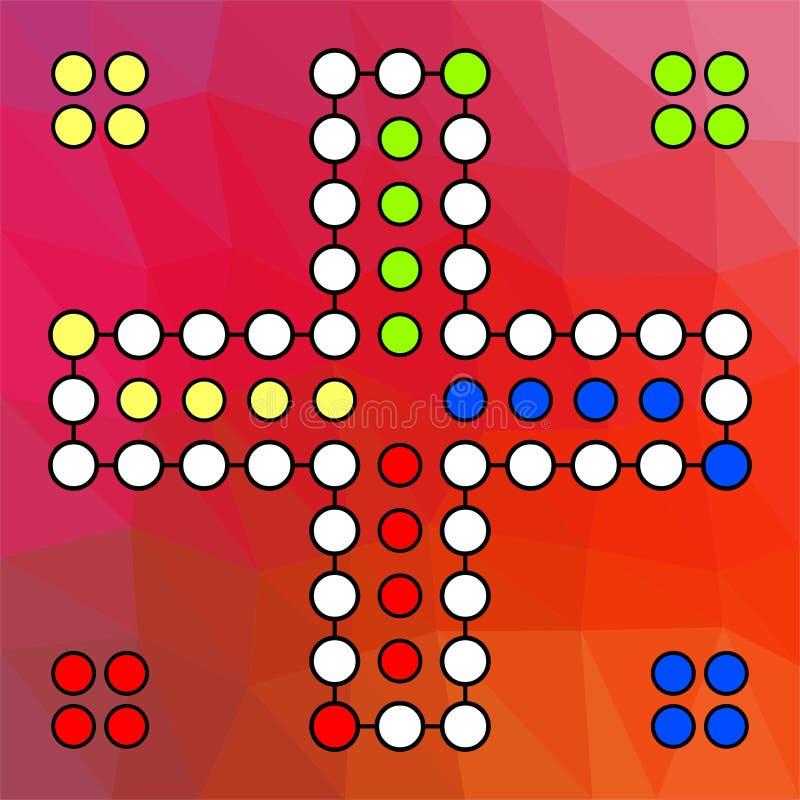 Vectorraad voor een familiespel Ludo aan vier spelers op een rode gekleurde achtergrond vector illustratie