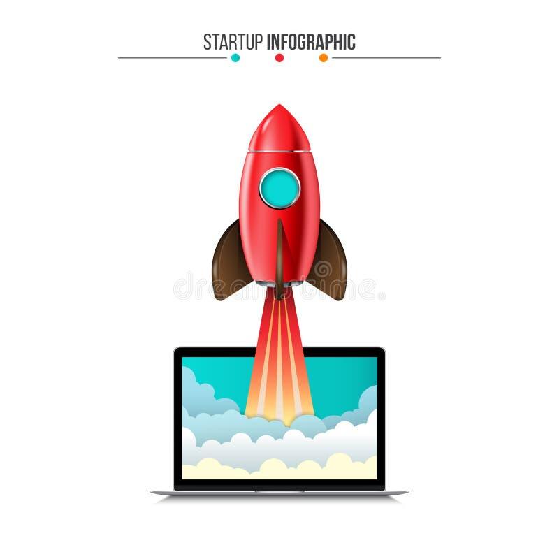 Vectorraket die van laptop vliegen Infographic opstarten stock illustratie