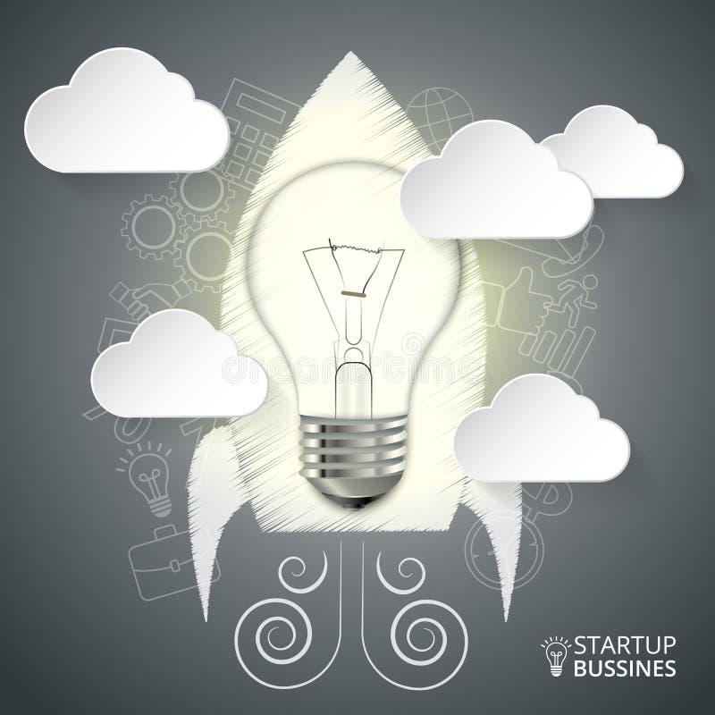 Vectorraket met lightbulb voor infographic stock illustratie