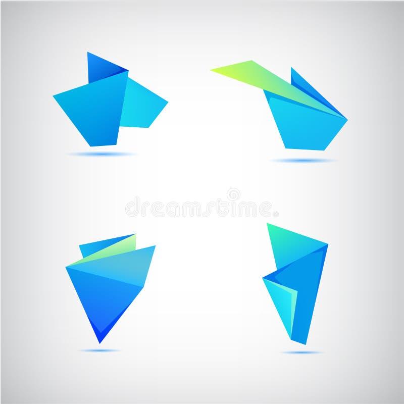Vectorreeks abstracte blauwe origami 3d emblemen vector illustratie