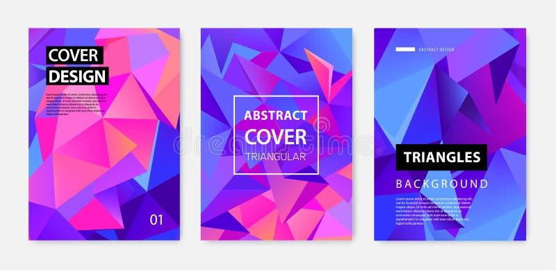 Vectorreeks abstracte geometrische dekking, banners, affiches, vliegers, brochures De oppervlakte van het tekstkader a4 malplaatj stock illustratie