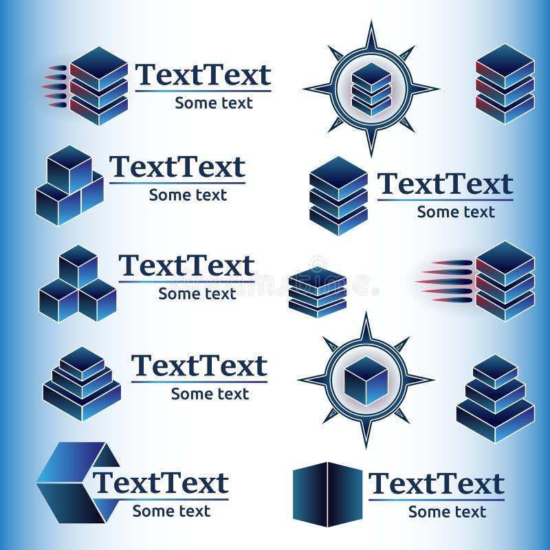 Vectorreeks abstracte geometrische emblemen stock illustratie
