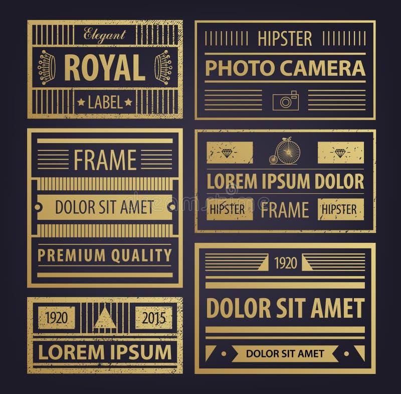 Vectorreeks abstracte gouden hipsterkentekens, retro stijl, geweven met pictogrammen Kaders voor ontwerpadreskaartjes vector illustratie