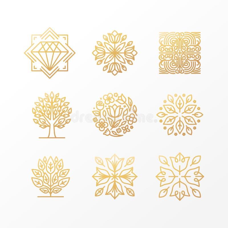 Vectorreeks abstracte gouden tekens royalty-vrije illustratie