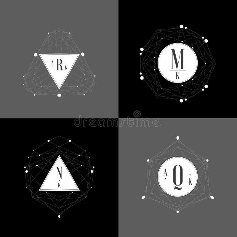 Vectorreeks abstracte het ontwerpmalplaatjes van het juwelenembleem vector illustratie
