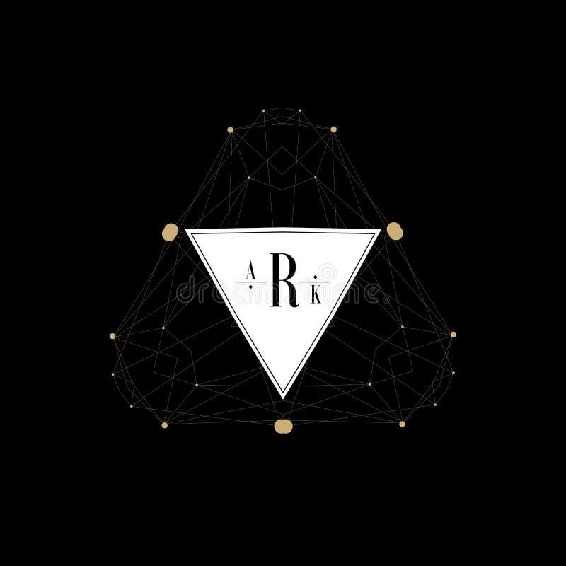 Vectorreeks abstracte het ontwerpmalplaatjes van het juwelenembleem royalty-vrije illustratie