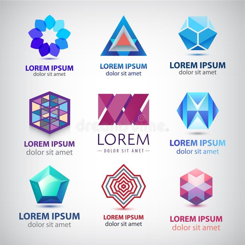 Vectorreeks abstracte kleurrijke 3d emblemen, pictogrammen royalty-vrije illustratie