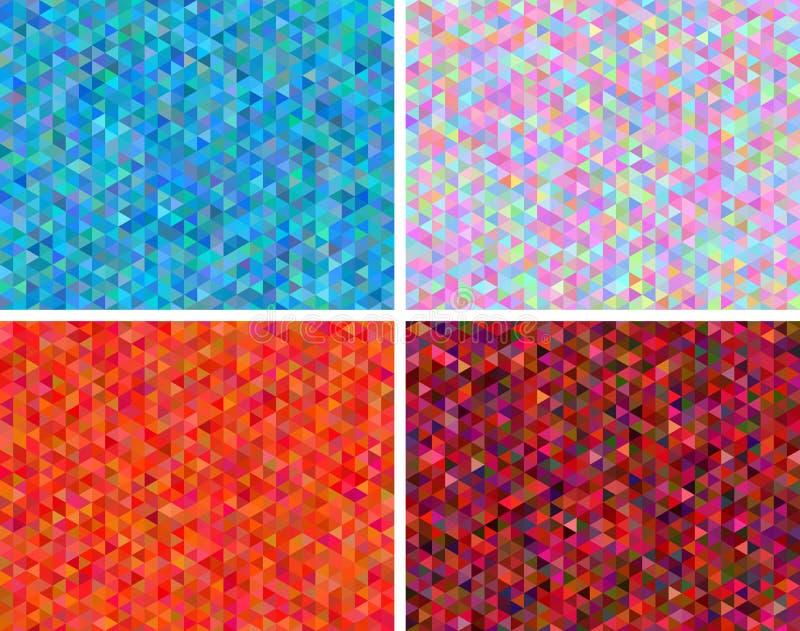 Vectorreeks abstracte lage veelhoekachtergronden stock illustratie