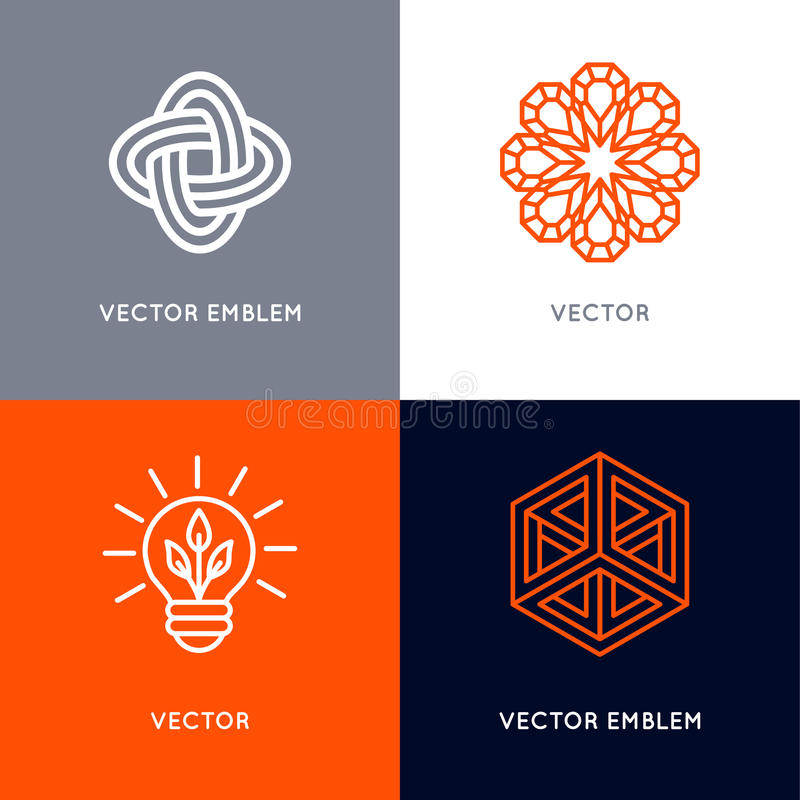 Vectorreeks abstracte malplaatjes van het embleemontwerp in in lineaire st vector illustratie