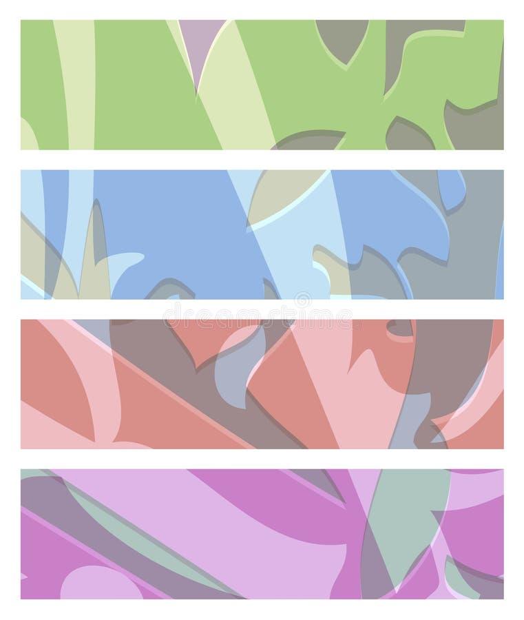 Vectorreeks abstracte rechthoekige banners van groenachtig blauwe rode pur vector illustratie