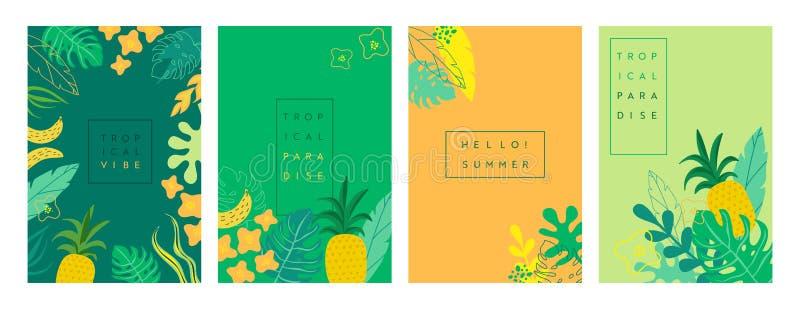 Vectorreeks abstracte Tropische achtergronden, de zomer heldere trillende banners, affiches, dekkingsontwerpsjablonen, sociale me vector illustratie