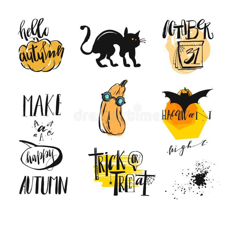 Vectorreeks affiches met pompoenen voor Halloween vector illustratie