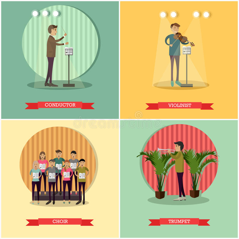 Vectorreeks affiches van het orkestconcept in vlakke stijl royalty-vrije illustratie