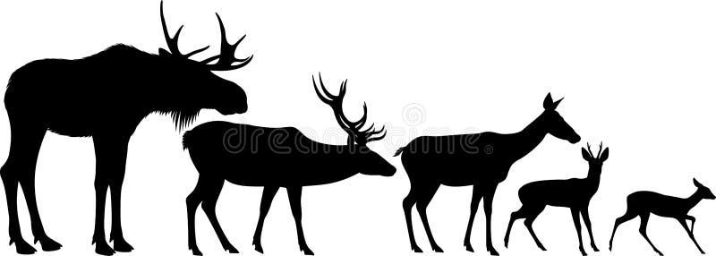 Vectorreeks Amerikaanse elanden en hertensilhouetten vector illustratie