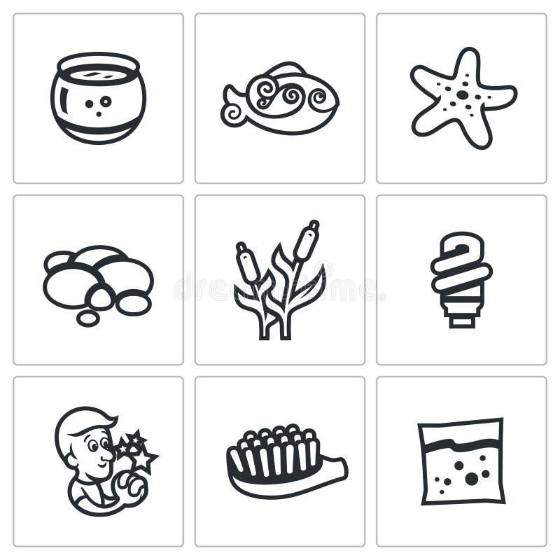 Vectorreeks Aquariumpictogrammen Capaciteit, vissen, zeester, kiezelsteen, riet, licht, wens, borstel, voer stock illustratie