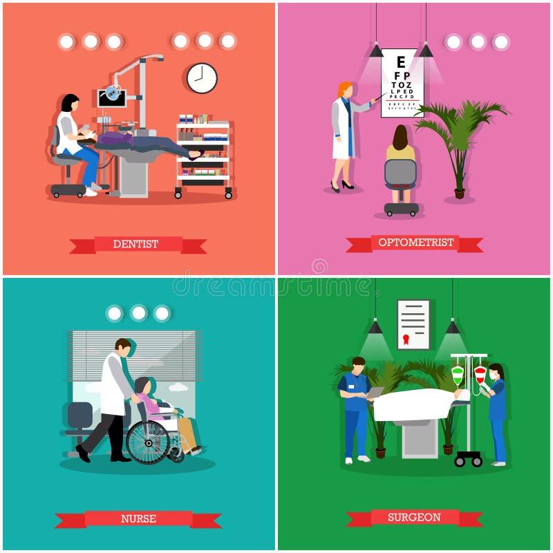 Vectorreeks banners, affiches met mensen in het ziekenhuis, kliniek vector illustratie