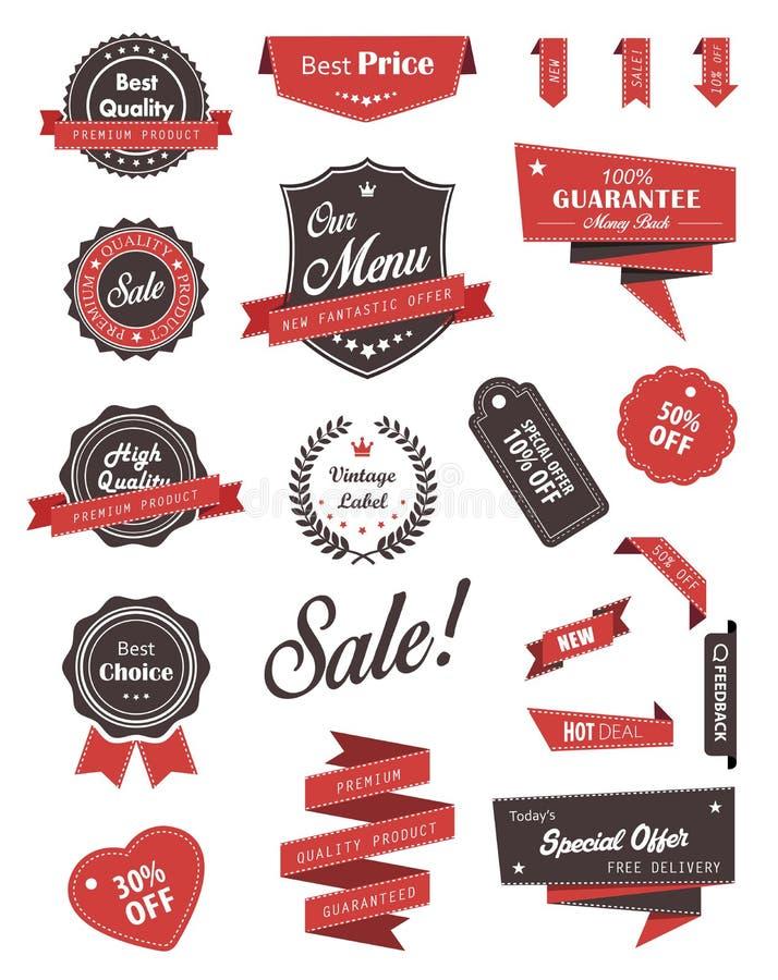 Vectorreeks banners, etiketten, linten en stickers vector illustratie