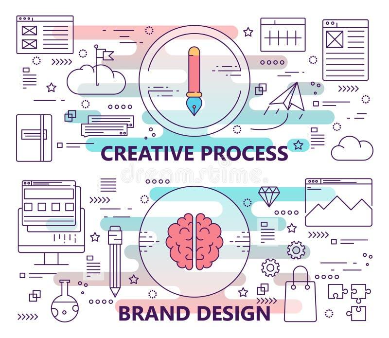 Vectorreeks banners met de creatieve proces en merkmalplaatjes van het ontwerpconcept De moderne dunne elementen van het lijn vla stock illustratie