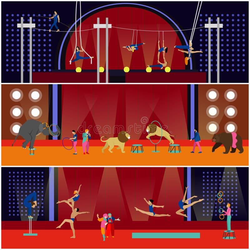 Vectorreeks banners van het circus binnenlandse concept De acrobaten en de kunstenaars presteren tonen in arena royalty-vrije illustratie