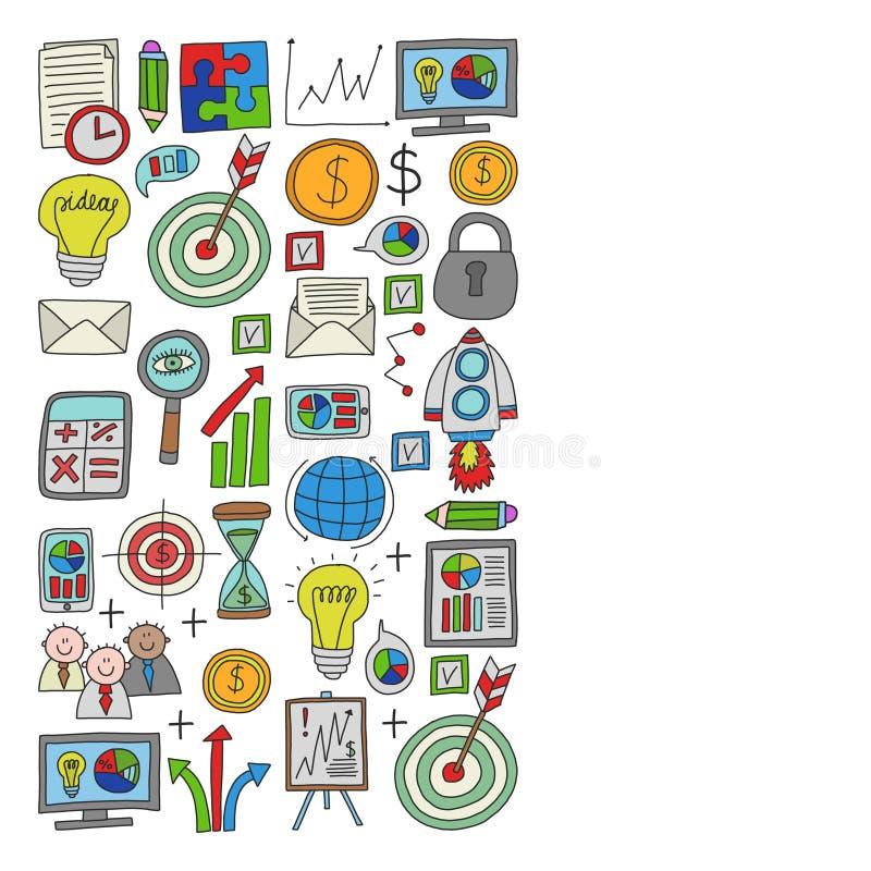 Vectorreeks bedrijfspictogrammen in krabbelstijl stock illustratie