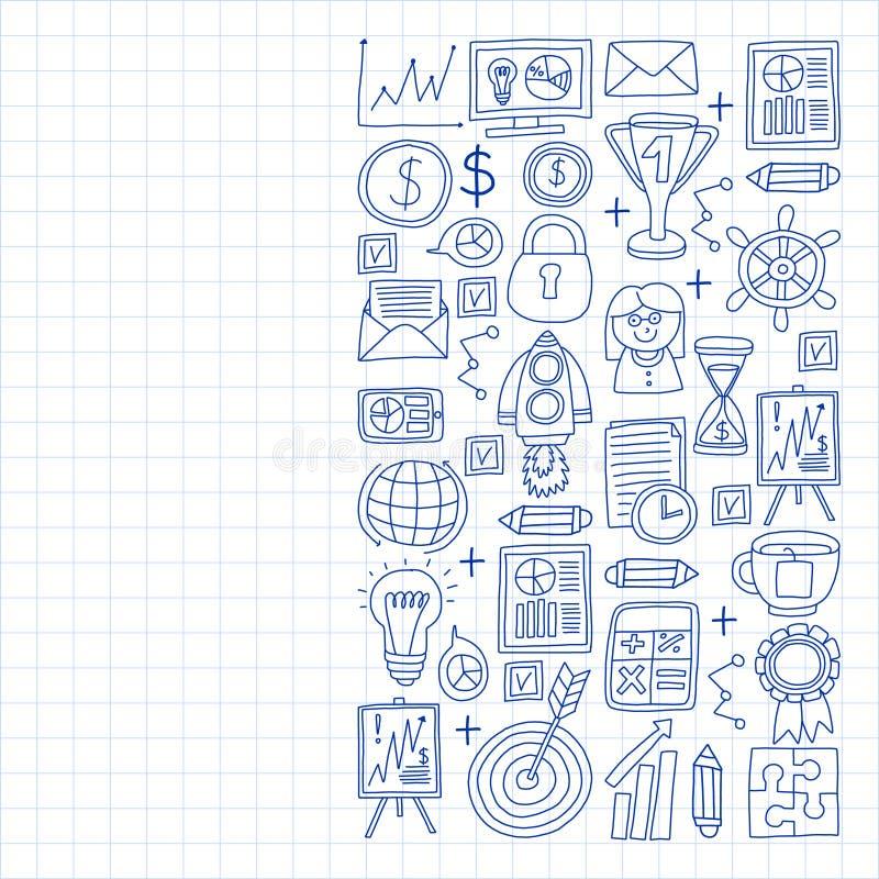 Vectorreeks bedrijfspictogrammen in krabbelstijl geschilderd door penon een stuk van document in kooi stock illustratie