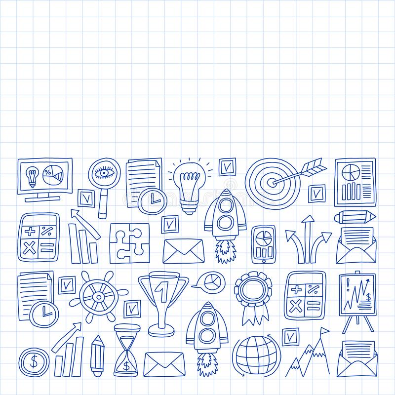 Vectorreeks bedrijfspictogrammen in krabbelstijl geschilderd door penon een stuk van document in kooi vector illustratie