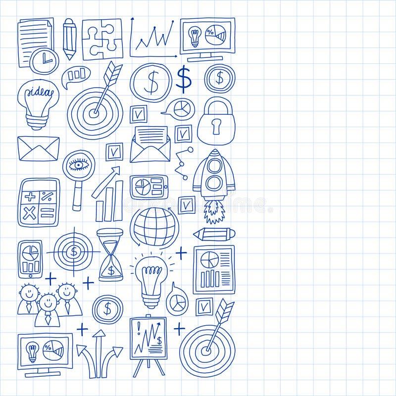 Vectorreeks bedrijfspictogrammen in krabbelstijl geschilderd door penon een stuk van document in kooi royalty-vrije illustratie