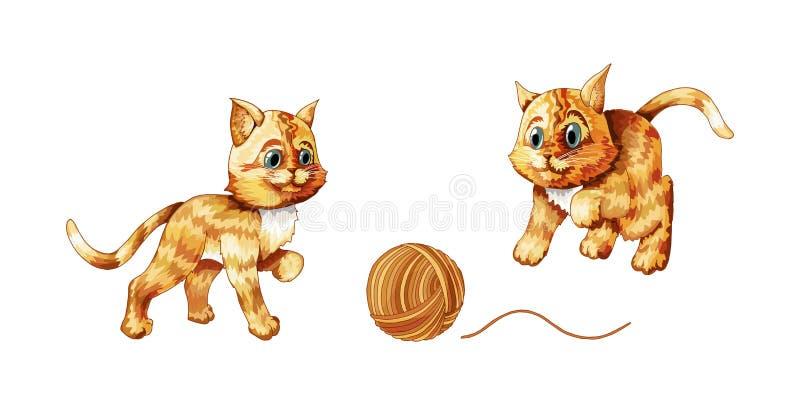 Vectorreeks beeldverhaalbeelden van het leuke verschillende katten geïsoleerd spelen met clew stock illustratie