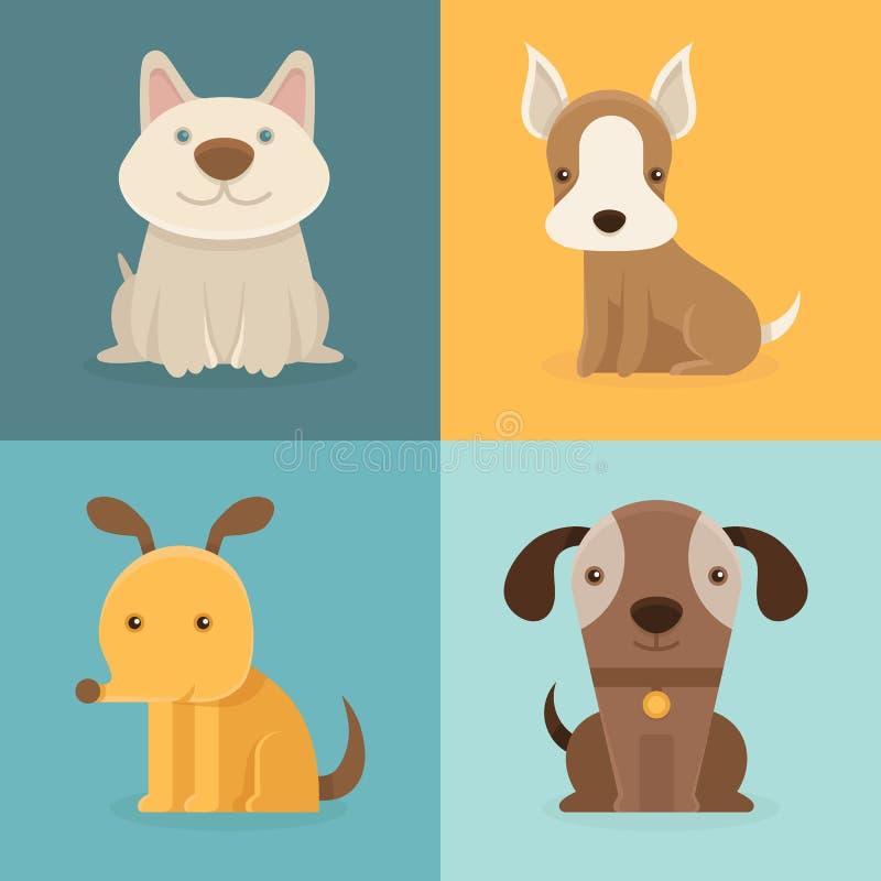 Vectorreeks beeldverhaalhonden in vlakke stijl vector illustratie