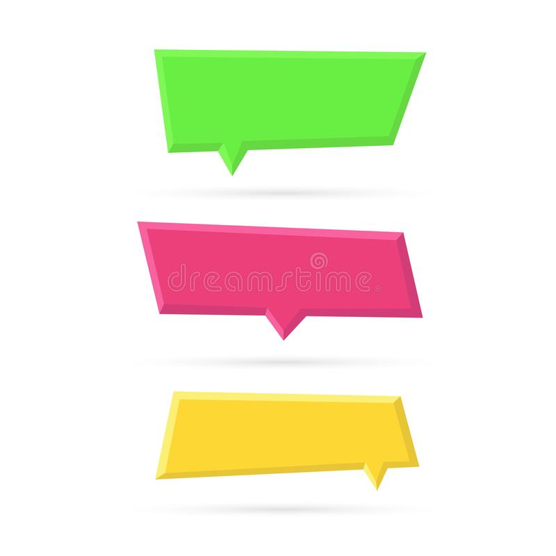 Vectorreeks bellen van de kleuren lege plastic toespraak stock illustratie