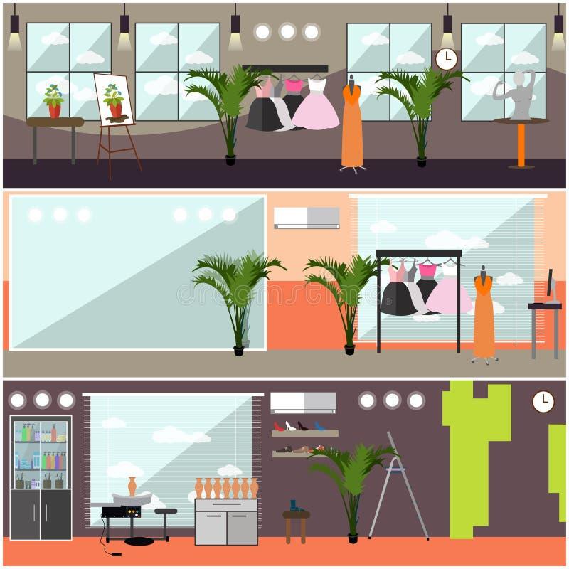 Vectorreeks binnenlandse affiches van de kunststudio in vlakke stijl vector illustratie