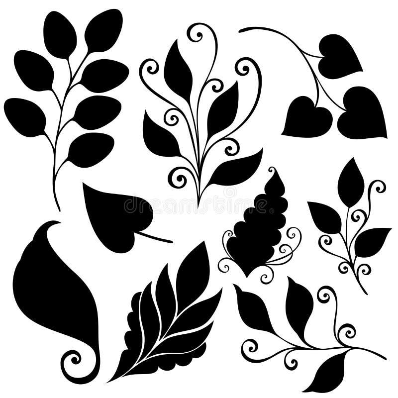 Vectorreeks Bladeren Geïsoleerde stencils royalty-vrije illustratie