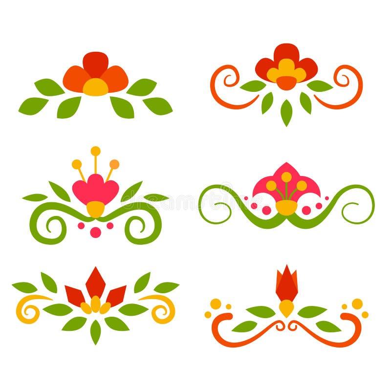 Vectorreeks bloemenfeeseparators in vlakte royalty-vrije illustratie