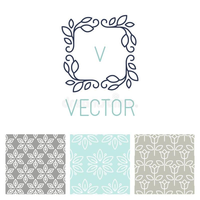 Vectorreeks bloemengrens en naadloze patronen stock illustratie