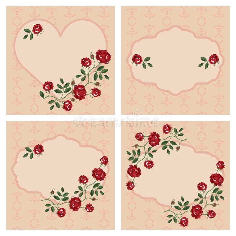 Vectorreeks bloemenkaders royalty-vrije illustratie