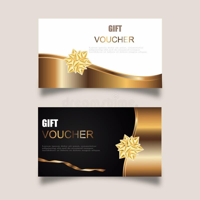 Vectorreeks bons van de luxegift met linten en giftdoos Elegant malplaatje voor een feestelijk giftkaart, een coupon en een certi stock illustratie