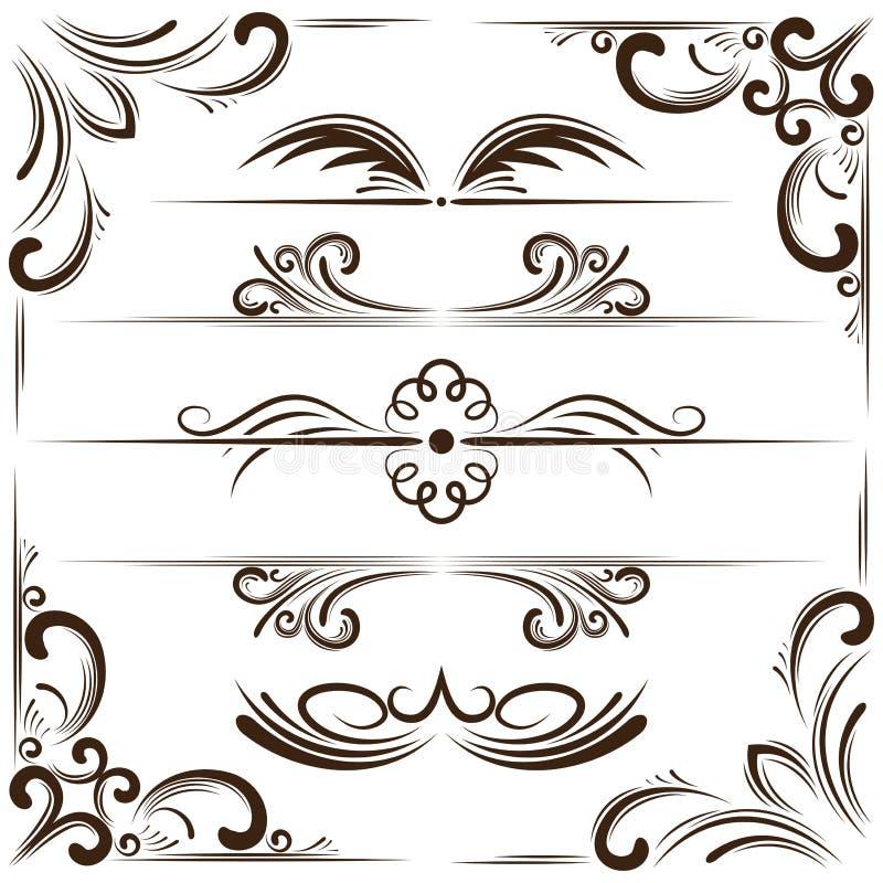 Vectorreeks bookplates en hoeken voor ontwerp royalty-vrije illustratie