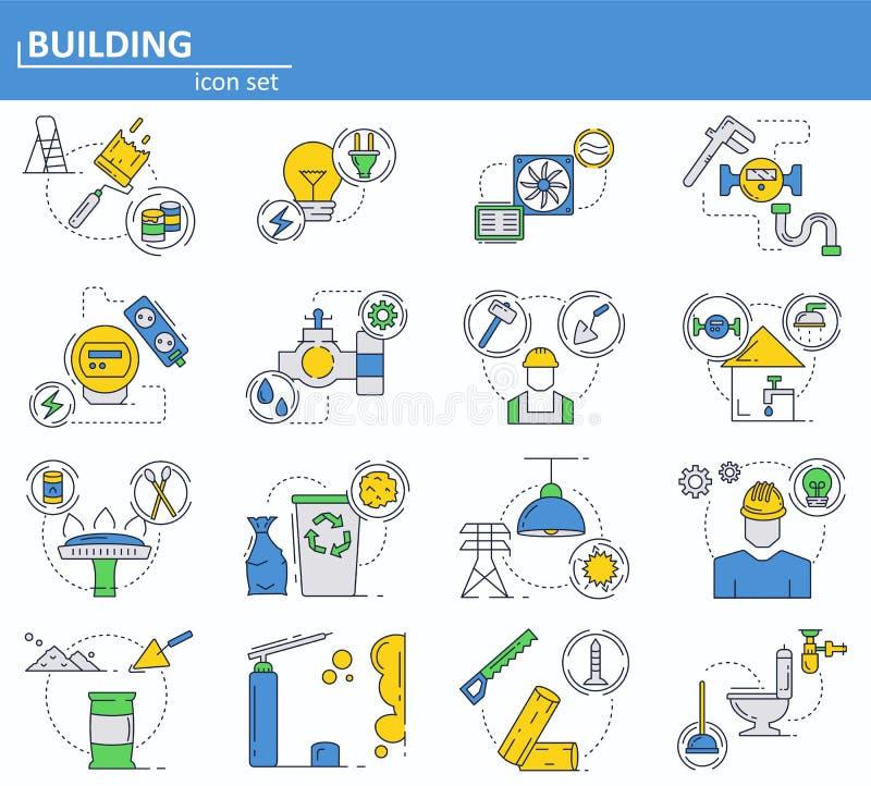 Vectorreeks bouw en bouwmaterialenpictogrammen in dunne lijnstijl Huisnut, water, gas, elektriciteit stock illustratie