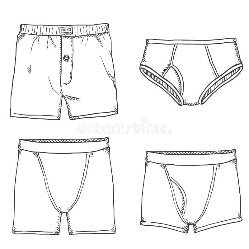 Vectorreeks Broek van Schetsmensen Mannelijk ondergoed stock illustratie